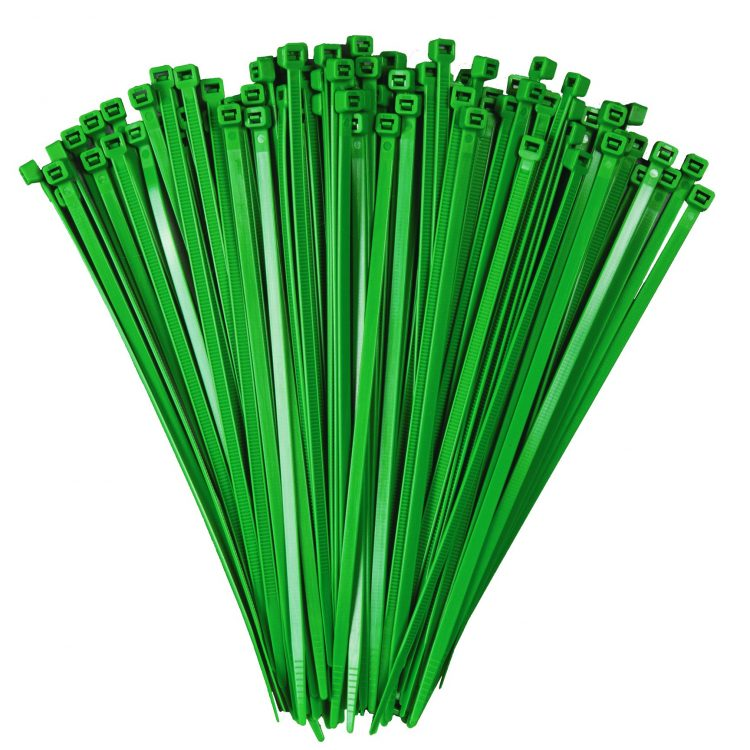 100mm x 2.5mm Green Cable Ties (100Pk)