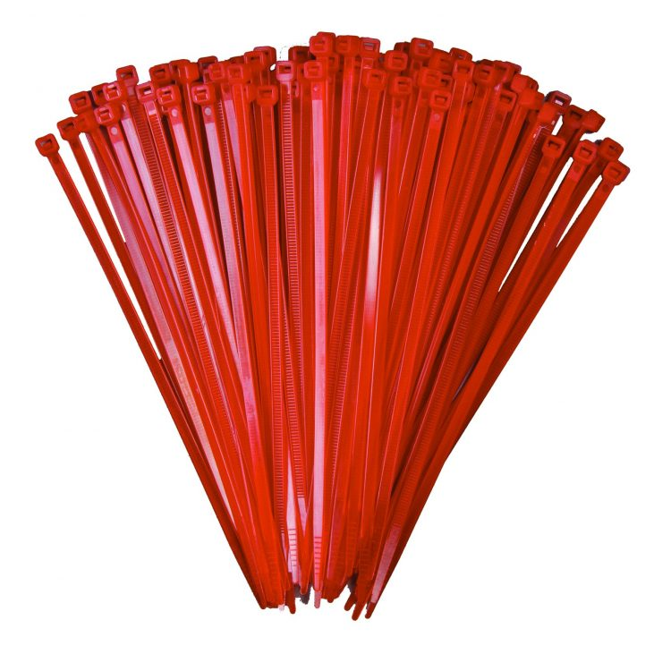 100mm x 2.5mm Red Cable Ties (100Pk)