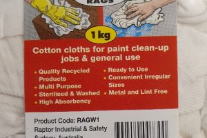Raptor Rags – 1Kg White Cotton T-Shirt